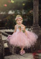 Charming Blush Pink Flower Girls Dreses For Beach Country Wedding With Sheer Neck Hand Princess First Dresses