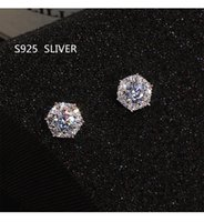 Simple Fashion Jewelry Stunning Real 925 Sterling Silver Round Cut White CZ Diamond Gemstones Party Women Wedding Bridal Stud Earring