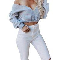 Women's Hoodies & Sweatshirts Short Women Sexy Deep-V Neck Off Shoulder Streetwear Long Sleeve Casual Autumn Crop Tops Female Cotton Hoody