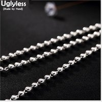 Uglyless Real 925 Sterling Silver Chains Thick Fine Jewelry 3MM Beads Necklaces Without Pendants Collier Unisex Bijoux 10 Sizes