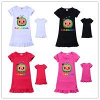 Cocomelon ji meninos padrão bonito meninas vestido crianças multicolors manga curta camisa de camisa doces vestidos de casas saia casual roupas 110-150cm gg494t2g
