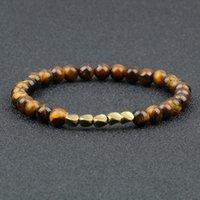 Beaded, Strands Fashion Irregular Copper Beads Bracelet 6MM Lava Black Matte Tiger Eye Natural Stone Bangle Jewelry Couple Elastic