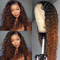 Ombre Brown Color Curly Wigs For Black Women Brazilian Human Hair Long Deep Wave Synthetic Lace Front Wig
