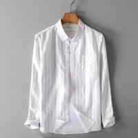 Männer Lässige Hemden Marke Leinen gestreiftes Hemd Lose Mens Mode Langarm Flachs Männliche Streifen Kleidung Chemise Camisa