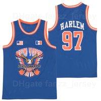 Moive os diplomatas x 97 Harlem Basketball Jersey Homens Vintage Respirável Algodão Puro Pullover Equipe Cor Azul Retro Sports Uniform Boa qualidade à venda