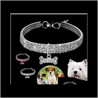 Collars Leashes Supplies Home Garden Wholesales!!! Bling Rhinestone Dog Necklace Collar Diamante & Pendant For Pet Puppy Chihuahua Drop Deli