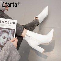 LTARTA Autumn Women Mid Calf White Point Toe Boots High Heels Fashion Booties Women's Boots White for ladies ZL-QS048 211021