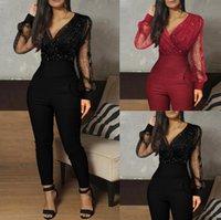Streetwear Tops Mesh Rompers Sexy Bodycon Комбинезон для женщин с длинным рукавом Тощий комбинезон