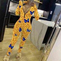 높은 거리 도착 노란 나비 레오파드 인쇄 스키니 rompers 둥근 칼라 긴 소매 전면 zip womens jumpsuit 210517