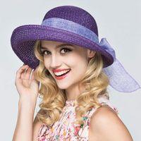 Beckyruiwu Lady Yaz Güneş Şapka Açık Havada Plaj Katlanabilir Kova Kadınlar Ilmek Şerit Chic Hasır Şapka Geniş Ağız