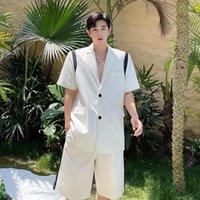 Men's Suits & Blazers Male Suit Coat Pant Summer Sets Net Celebrity Casual Streetwear Hip Hop Sports Short Sleeve Jacket Shorts