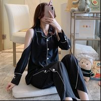 Summer Thin Pyjama Pajamas Set Womens Sleepwears Long Sleeve Dew Shoulder Top Pants Sleepwear Soft Comfortable Nightwear