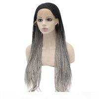 Silver Synthetic Braiding Hair Wig Full Long Micro Braided Ombre Gray Braid Lace Front Wig For Africa American