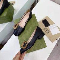 Классические туфли на высоком каблуке обувь дизайнер кожа толстый каблук высокий каблук 100% коровьей круглой головки металлическая кнопка женские одежды обувь большие 34-41