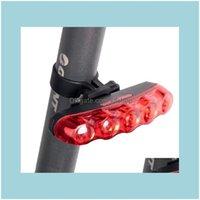 자전거 Aessories 사이클링 스포츠 옥외문 자전거 타이틀 라이트 산악 자전거 조명 5LED 붉은 빛 다채로운 경고 야외 도로 승마 장비