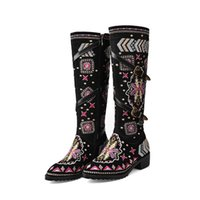 Boots 2021 Winter Women Embroidery Love Western Cow Suede Matching Retro Knight Fashion Wedding Warm Shoes