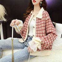 T-shirts Femmes Tees Vanovitch Japonais Loisirs Mode paresseux Couture Plaid Couche courte Pull en tricot 2021 Boutons d'automne et d'hiver Cardigan Femmes