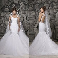 Hot Mermaid Wedding Dresses with Detachable Train Beaded Lace Appliques Sheer Back Bridal Gowns Spaghetti Straps Custom Made