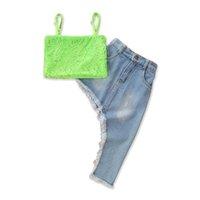 Kinderkleidung Sets Mädchen Outfits Baby Kleidung Kinder Anzug Sommer Spitze Tank Tops Quasten Lange Denim Röcke Mode 2 stücke B6859