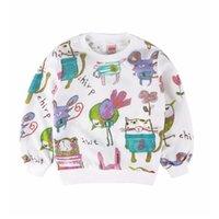 Bambina Felpa Felpa Bambini Vestiti per bambini Stampa Animale Cotton Bambini T-shirt ragazze Maglione Maglione Jumper Blouse Pullover Cat Bird Mouse 210413