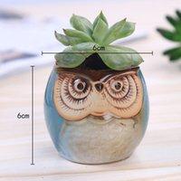 Macetas de dibujos animados de búho en forma de búho para suculentas plantas carnosas maceta cerámica pequeña mini hogar / jardín / decoración de oficina nave de mar ZZE5630