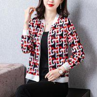 Women's Jackets Thin Baseball Zipper Plus Size 4XL Women Flower Silk Jacket 2021 Summer Casual Female Outerwear Long Sleeve Coats