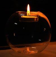 حاملي الشموع جولة جوفاء الزجاج حامل كريستال واضح رومانسية عشاء الزفاف ديكور الشمعدان حزب شنقا المنزل