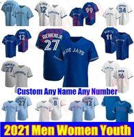 20 21 Toronto Homens Mulheres Juventude Vladimir Guerrero Jr. Jerseys Beisebol Azul Jays George Bell Joe Carter Roberto Alomar Justin Smoak Morris Jersey