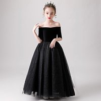 Girl's Dresses Flower Girl Dress Luxury Black Lace Illusion Sequined Off The Shoulder Princess Floor-Length Tulle Boat Neck Kid Party Gown H