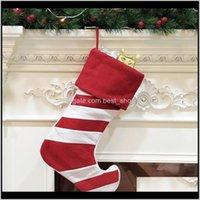 Dekorationen Große Chirstmas Strümpfe Streifen Socke Geschenk Weihnachtsbaum Dekoration Hang Aufbewahrungstasche Partybedarf EWE2792 LF48X MFHZU