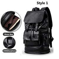 Sexcer Anti-Theft USB PU кожаный тренажерный зал рюкзак фитнес мужчин тренировки с обувь хранения путешествия Duffle SE de Sport Bolsa сумка Q0705