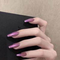 False Nails 24Pcs Box Detachable Aurora Purple Coffin With Glue Stiletto Ballerina Fake Full Cover Nail Tips Press On