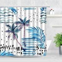 열 대 식물 샤워 커튼 코코넛 나무 파란색 잎 북유럽 스타일 패션 3D 인쇄 방수 욕실 장식 커튼 세트