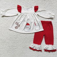 Wholesale Kids Designer Clothes Boys Sets Christmas Toddler Baby Girls Boutique Clothing Fashion Boy Outfits Santa Claus Print Children Long Sleeve Pants Outfit