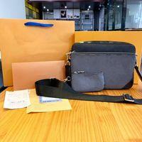 Designer Luxurys Trio 3 STÜCKE Umhängetaschen Alte Blumendruck Herren- und Damenmode Crossbody Messenger Bag Berühmte Marke Handtaschen Aktentasche