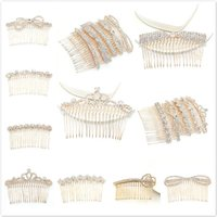 Hair Clips & Barrettes 12 Style Fashion Jewelry Rhinestone Golden Wave Comb Girls Ornaments Wedding Accessories