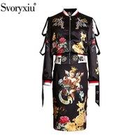 Svoryxiu винтажный ангел цветок печати черный юбка костюм женская мода взлетно-посадочная полоса осень зима двух частей набор новый 210407