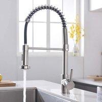 Gebürstelter Nickel-Finish-Küchen-Waschbecken Wasserhahn Ziehen Sprühgerät Deck Mounter-Feder-Mischbatterie-Tap-Swivel-Auslauf Wasser Seaway GWF10237