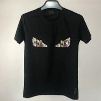 럭셔리 셔츠 티셔츠 2021F 가족 짧은 소매 남성용 Mercerized 코튼 티셔츠 악마의 눈 자수 패션 로마 리틀 몬스터 정신 소년
