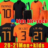 Memphis 2021 Paesi Bassi Camicia da calcio de Jong Holland De Ligt Strootman Van Dijk Virgil 2022 Jersey di calcio Adult Men + Kid Kit
