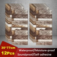 Wall Stickers 12pcs 3D Brick Self- Adhesive Waterproof Roof Ceiling Decor For Living Room Bedroom TV Background Foam Wallpaper