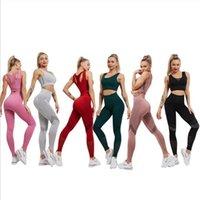 Equipo de yoga Conjunto de sentimientos desnudos de mujer Gris Señoras deportivas Chaleco de cintura altas Pantalones recortados Pantalones recortados 2 unids Gimnasio Jogging Squat Sportswear