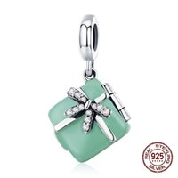 925 sterling silver love gift box pendant charms fit Pandora charm bracelet necklace making woman jewelry