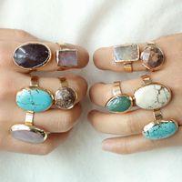 Cluster Rings KOMi Natural Stone Turquoises Amethysts Jades Gem Inlaid Adjustable Handmade Semi-precious Stones Cuff K2972