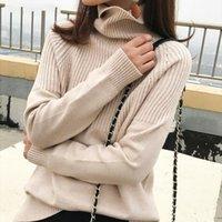 Женские свитеры Bornsra Vintage Утолщенные полосатые женщины осень осень зима водолазки пуловеры джемперы женские корейские вязаные топы Femme 2021