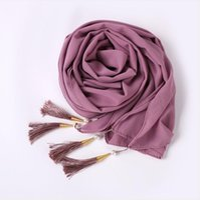 Scarves Bubble Chiffon Hijab Scarf Women Solid Color Long Soft Muslim Islam Wrap Shawl Femme Beaded Pearls Hijabs Tassel