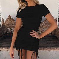 Casual Dresses GAOKE Sexy Ruched Bodycon Mini Dress 2021 Short Sleeve O Neck Black White Bandage Tight Fitted Woman Party Night Club