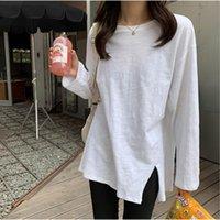 Kadın T-Shirt Ctrllock Yan Bölünmüş Yuvarlak Yaka Kadın Pamuk T-Shirt Katı Renk Gevşek Rahat Uzun Kadın Sonbahar Dip Gömlek