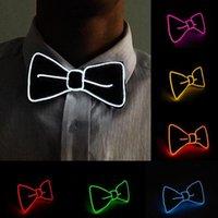 Moda Erkekler ve Kadınlar LED Tel Papyon Aydınlık Neon Kulübü Parti Boyun Bağları