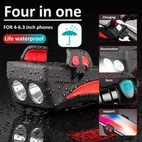 Cell Phone Mounts & Holders USB Charger Multifunction 4 IN 1 Bike Light Horn Holder Power Bank Bicycle Front Stand